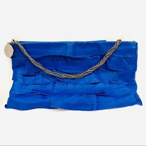 BCBGMAXAZRIA Blue Pieced Leather Ruffle Bag